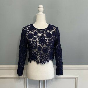 Gracia Lace Open Blue Crop Top Scalloped Small